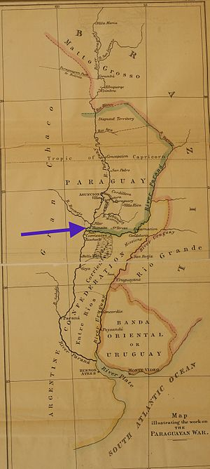 Fortress of Humaitá - The key to Paraguay.  The blue arrow shows the location of the fortress near the mouth of the River Paraguay. At the top of the map is the Mato Grosso, and the territory disputed between Brazil and Paraguay. (Source: Thompson, Plate VIII.)