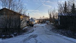 A street level view of New Stuyahok, Alaska