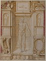 Study of a Figure in a Niche (Saint Ambrose; recto); Architectural Studies- Four Alternative Designs for Fictive Niches and an Unrelated Design with Garlands (verso), ca. 1560-67 MET 1995.305.jpg