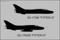 Sukhoi Su-17M3R and Su-17UM side-view silhouettes.png