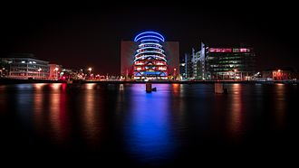 Convention Centre Dublin - The Dublin Convention Centre, a modern architecture, at night