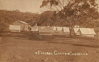 The Federal Capital survey camp was established c. 1909. An extensive survey of the ACT was completed by Charles Scrivener and his team in 1915. Surveyors camp Canberra.jpg