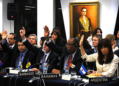 Those attending the Extraordinary Assembly of the OAS voted to suspend Honduras. Suspension de Honduras de la OEA.jpg