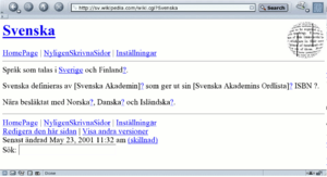 Swedish Wikipedia - Screenshot on 23 May 2001 of sv.wikipedia.com
