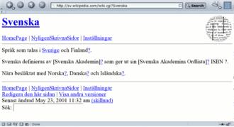 Swedish Wikipedia - Screenshot on 23 May 2001 of sv.wikipedia.com