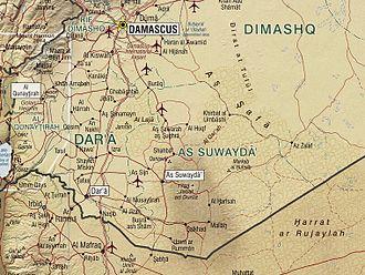 Jabal Druze State - Geographic map of Jabal al-Druze.
