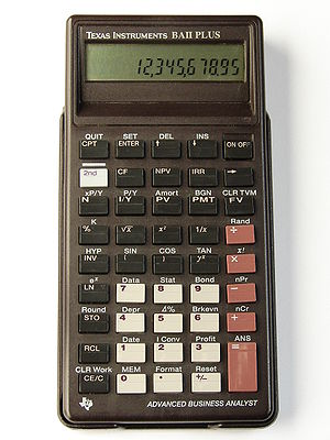 Texas Instruments Business Analyst - Texas Instruments BA II Plus from 1991.