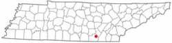 Location of Powells Crossroads, Tennessee