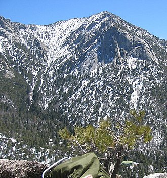 Tahquitz Peak - A view of Tahquitz from Suicide Rock, showing both Lily Rock and the peak