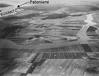 Battle of Kelja - Aerial photograph of the Koukunniemi cape in the Taipale sector, taken from the south, facing north.