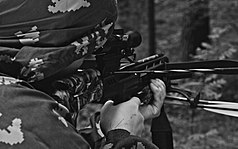 Taking Aim In A Crossbow Black and White.jpg