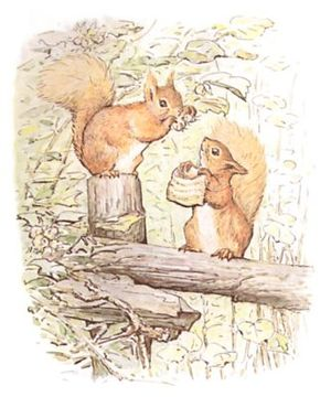 """Squirrels collecting nuts and placing them in a little sack."""