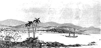 First Madagascar expedition - Tamatave, bombarded and occupied by the French under Admiral Pierre, on 11 June 1883. Le Monde Illustré, 1883.