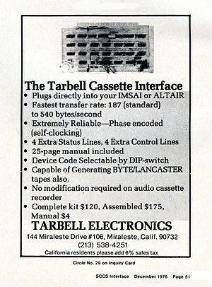 Tarbell Cassette Interface -  A 1976 advertisement for the Tarbell Cassette Interface.