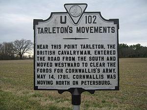 Banastre Tarleton - Tarleton's Movements historical marker in Adams Grove, Virginia