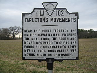 Banastre Tarleton - Tarleton's Movements historical marker in Adams Grove, Virginia