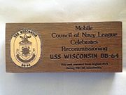 Teak deck piece from the USS Wisconsin reactivation 1987-1988