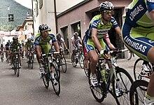 La Liquigas-Doimo durante un passaggio al Giro d'Italia 2010