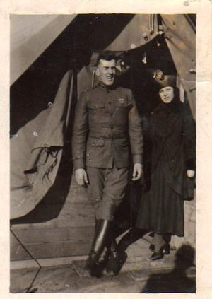 Edward H. Brooks - Lieutenant Edward Hale Brooks, pictured here with his wife, Beatrice Brooks, as he prepares to ship off to Europe, 1918.