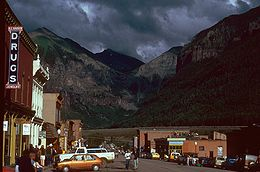 Downtown Telluride during the 3rd Annual Jazz Festival, August 1979