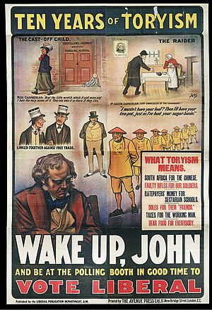 Liberal Party (UK) - Liberal poster c.1905-10, Clockwise from the left: Joseph Chamberlain abandons his commitment to old age pensions; Chancellor Austen Chamberlain threatens duties on consumer items which had been removed by Gladstone (in the picture on the wall); Chinese indentured labour in South Africa; John Bull contemplates his vote; Joseph Chamberlain and Arthur Balfour (who favoured retaliatory tariffs) wearing top hats