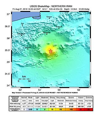 2010 Damghan earthquake - USGS ShakeMap for the event