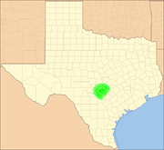 Approximate location of the Texas Hill Country within Texas.