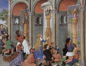 Mythology in the Low Countries - A tribute to pagan mythology illustrated in Emilia, Arcite, and Palamon worship at the shrines of the Gods - from the Théséide, circa 1460-70 by Flemish artist Barthélemy d'Eyck.