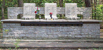 "Roger Bushell - Memorial to ""The Fifty"" near Żagań, Bushell R.J. on left column"