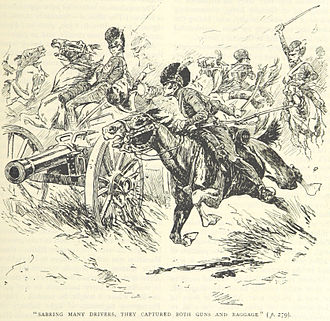 13th Hussars - Members of the 13th attack French horse artillery at Albueara (from a book published in 1895)
