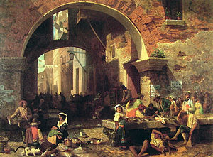 Market town - Roman fish market under the Arch of Octavius by Albert Bierstadt