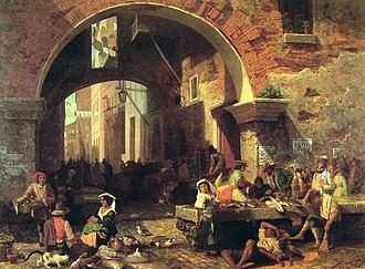 Market town - Roman fish market under the Arch of Octavius by Albert Bierstadt