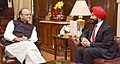 The Canadian Minister of Innovation, Science and Economic Development, Mr. Navdeep Bains calls on the Union Minister for Finance and Corporate Affairs, Shri Arun Jaitley, in New Delhi on November 08, 2016.jpg