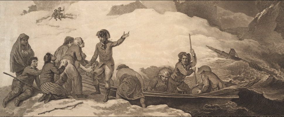 The Departure of S.W. Prentice and Five Others from their Shipwrecked Companions, 1781 (inset)