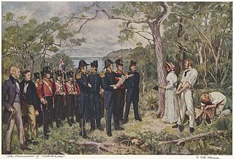 Perth - The Foundation of Perth 1829 by George Pitt Morison is a historically accurate reconstruction of the official ceremony by which Perth was founded.