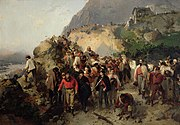 The Injured Garibaldi in the Aspromonte Mountains (oil on canvas)