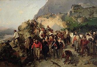 Battle of Aspromonte - Garibaldi wounded on the Aspromonte (by Gerolamo Induno)