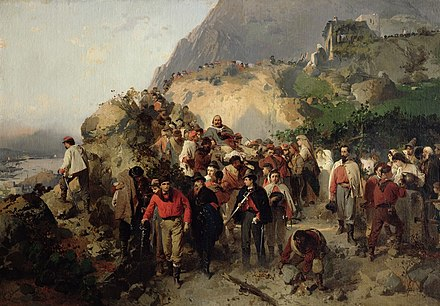 The Injured Garibaldi in the Aspromonte Mountains (oil on canvas), credited to Gerolamo Induno The Injured Garibaldi in the Aspromonte Mountains (oil on canvas).jpg
