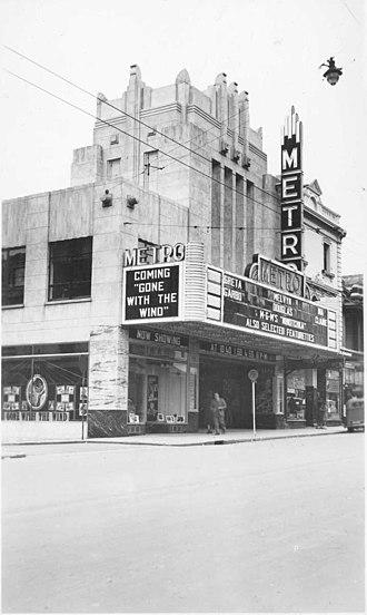 Hindley Street, Adelaide - The art-deco Metro Cinema on Hindley Street, c. 1940.