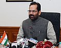 The Minister of State for Minority Affairs (Independent Charge) and Parliamentary Affairs, Shri Mukhtar Abbas Naqvi addressing a press conference, in New Delhi on February 04, 2017.jpg