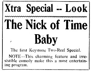 The Nick of Time Baby - Contemporary newspaper advert