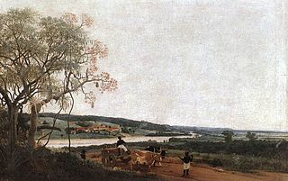 The Ox Cart. Brazilian landscape
