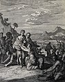 The Phillip Medhurst Picture Torah 399. The Israelites collect manna. Exodus cap 16 vv 14-17. Caspar Luyken.jpg