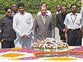 The President of Seychelles, Mr. James Alix Michel paying homage at the Samadhi of Mahatma Gandhi at Rajghat in Delhi on August 1, 2005.jpg