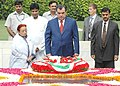 The President of Tajikistan, Mr. Emomali Rahmonov paying homage at the Samadhi of Mahatma Gandhi at Rajghat in Delhi on August 07, 2006.jpg
