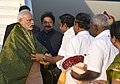 The Prime Minister, Shri Narendra Modi being received by the Governor of Tamil Nadu, Shri C. Vidyasagar Rao, the Chief Minister of Tamil Nadu, Shri Edappadi K. Palaniswami and other dignitaries on his arrival, at Coimbatore.jpg