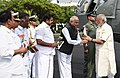 The Prime Minister, Shri Narendra Modi being welcomed by the Governor of Tamil Nadu, Shri Banwarilal Purohit on his arrival at Chennai on November 06, 2017.jpg