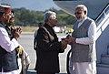 The Prime Minister, Shri Narendra Modi being welcomed by the Governor of Uttarakhand, Dr. K.K. Paul and the Chief Minister of Uttarakhand, Shri Trivendra Singh Rawat, on his arrival, at Dehradun, Uttarakhand.jpg