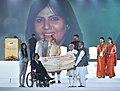 The Prime Minister, Shri Narendra Modi felicitating the Rio Paralympic Silver Medalist, Ms. Deepa Malik, with award of Rs.4 crore, at Haryana Swarna Jayanti Celebrations, in Gurugram, Haryana.jpg