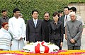 The Prime Minister of Japan, Mr. Shinzo Abe laid wreath at the Samadhi of Mahatma Gandhi at Rajghat, in Delhi on August 22, 2007.jpg